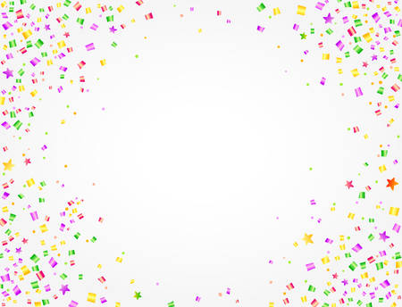 Carnival background with colorful confetti and space to put text in the middle