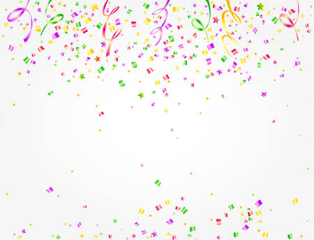 Carnival background with colorful confetti and streamers