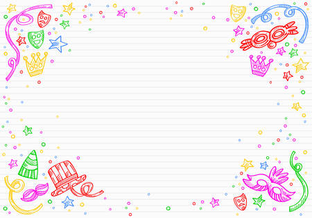 White carnival background with doodles of masks, confetti and stars around a space to write over a paper of letter