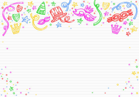 White carnival background with doodles of masks, confetti and stars on top, over a paper of letter