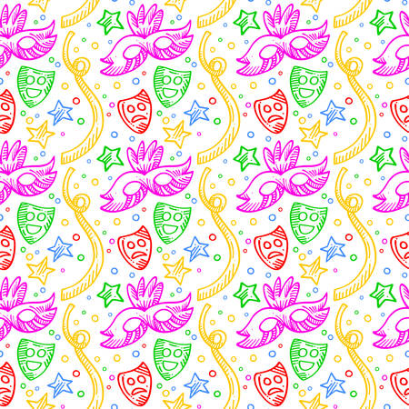 White carnival background pattern with colorful doodles of masks, confetti and stars