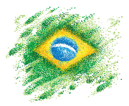 Flag of Brazil made with colorful dots with various shades of green on white background
