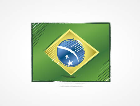 Simple Brazilian flag with bright colors in draft format done with brushstrokes. Illustration for the year of presidential election in the country. Ilustração