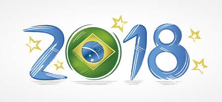 Year 2018 with the flag of Brazil in place of zero representing the presidential elections with stars around
