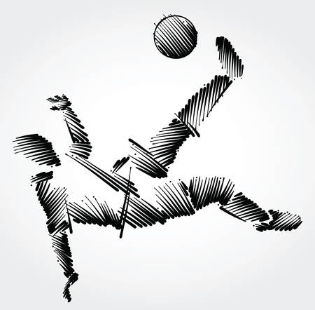 Soccer player stretching to dominate a balll made of black brushstrokes on light background Ilustração