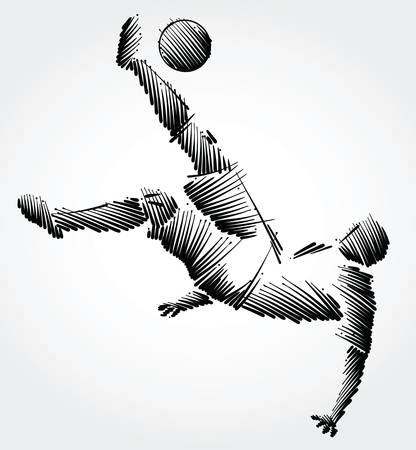 Soccer player falling trying to kick the ball made of black brushstrokes on light background Illustration