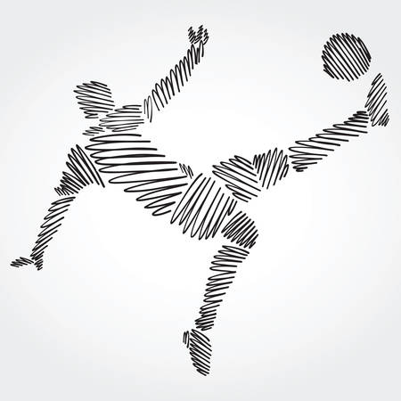 Soccer player stretching the body to dominate the ball made of black strokes on light background