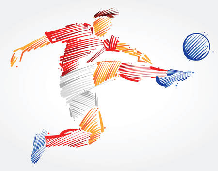 Soccer player flying to kick the ball made of colorful brushstrokes on light background Ilustração