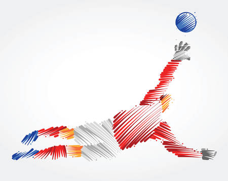 Russian goalkeeper jumping to catch the ball made of colorful brushstrokes on light background