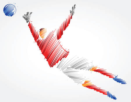 Russian goalkeeper trying to catch the ball made of colorful brushstrokes on light background Ilustração