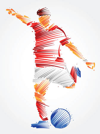 Soccer player running to kick the ball made of colorful brushstrokes on light background Ilustração