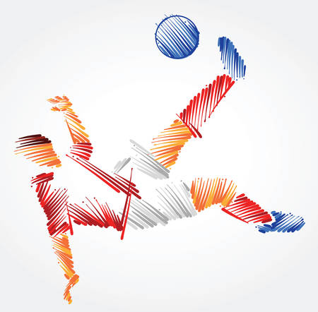 Russian soccer player stretching to dominate a ball made of colorful brushstrokes on light background