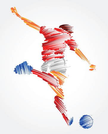 Russian soccer player ready to kick the ball made of colorful brushstrokes
