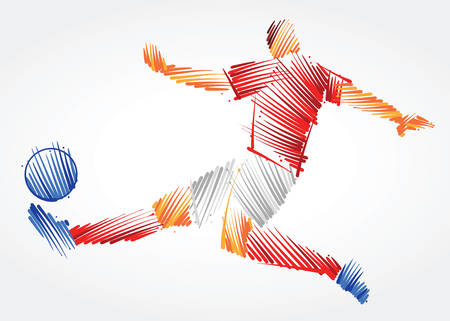 Russian soccer player stretching the body to dominate the ball made of colorful brushstrokes on light background Ilustração