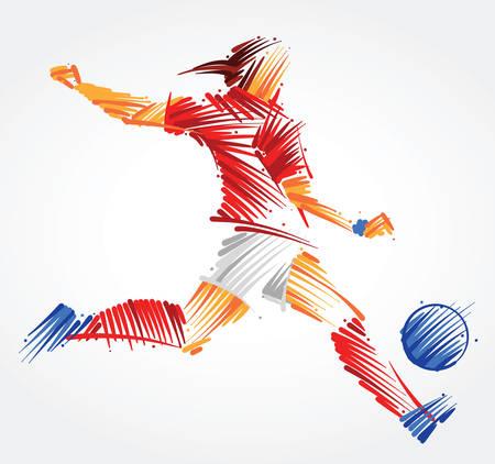 Piłkarz rosyjskiej kobiety kopiący piłkę wykonaną z kolorowych pociągnięć pędzla na jasnym tle