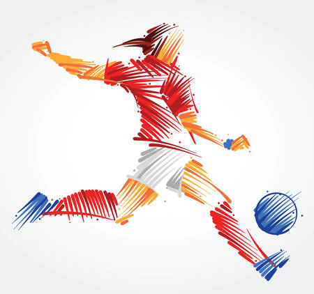 Russian woman soccer player kicking the ball made of colorful brushstrokes on light background