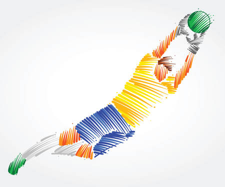 Brazilian goalkeeper flying to the ball made of colorful brushstrokes on light background