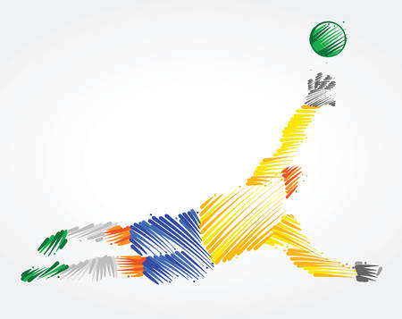Brazilian goalkeeper jumping to catch the ball made of colorful brushstrokes on light background