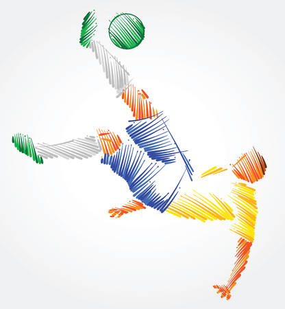 Brazilian soccer player trying to kick the ball made of colorful brushstrokes on light background Ilustração