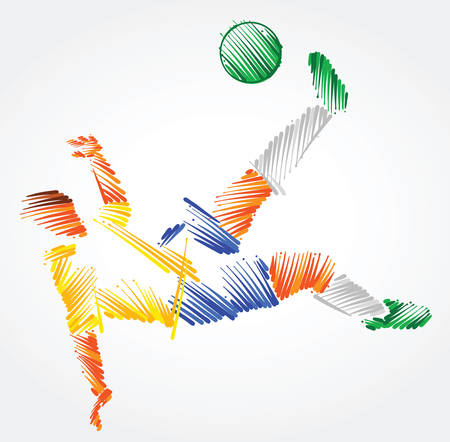 Brazilian soccer player stretching to dominate a ball made of colorful brushstrokes on light background
