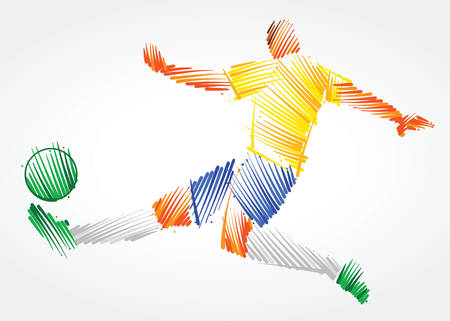 Brazilian soccer player stretching the body to dominate the ball made of colorful brushstrokes on light background Ilustração