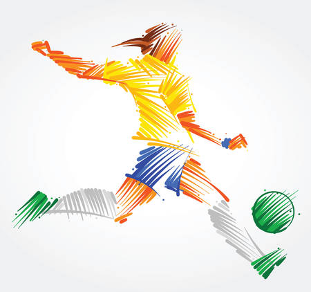 Brazilian woman soccer player kicking the ball made of colorful brushstrokes on light background