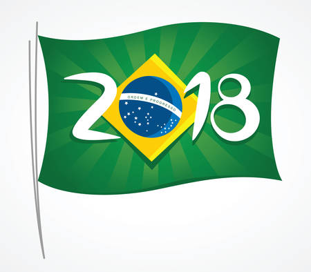 Brazil flag with the lettering 2018