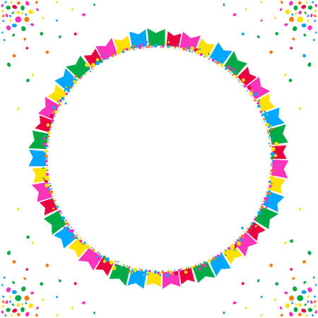 Circular background of colorful junina fiesta flags over white space for text