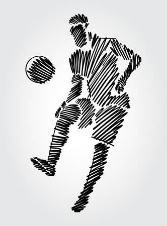 Fußballspieler, der den Ball an der gleichen Stelle dominiert. Einfache Zeichnung mit schwarzen Umrissen in Skizzenform auf hellem Hintergrund.