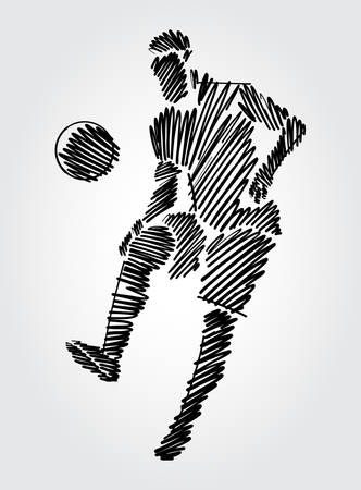Soccer player dominating the ball in the same place. Simple drawing with black outlines in sketch-shape on light background.