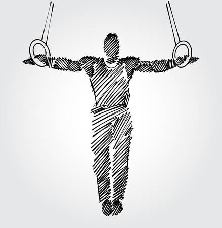 Male gymnast with open arms holding fixed standing position. Drawing with black brush strokes in sketch-shape on light background