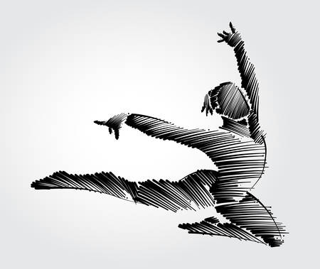 Athlete female gymnast jumping forward in graceful motion. Drawing with black brush strokes in sketch-shape on light background