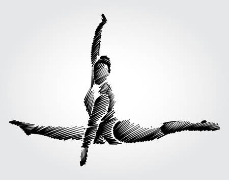 Athlete female gymnast jumping and making movement in the air.  Drawing with black brush strokes in sketch-shape on light background Ilustração
