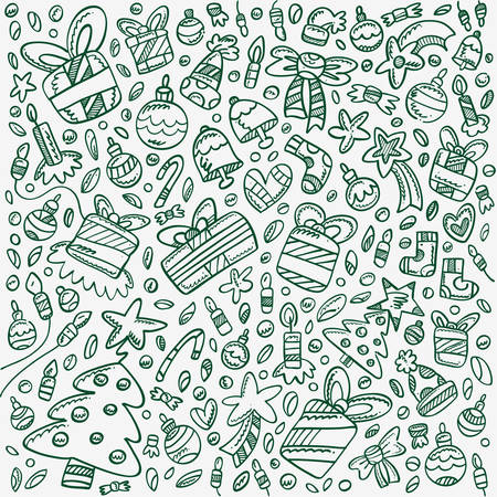 Background filled with Christmas doodles for kids in Dark green