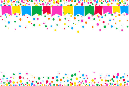 Horizontal background of colorful junina fiesta flags on top of space