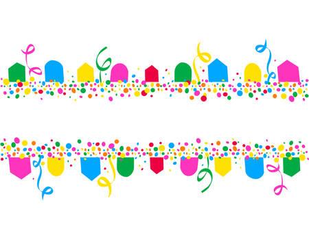 Arrière-plan horizontal de drapeaux de fête et de points colorés avec un espace pour écrire