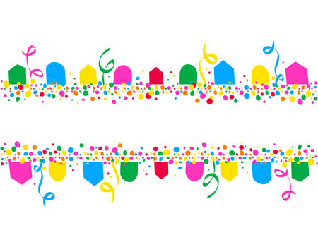 Horizontal background of party flags and colorful dots with space to write Illustration