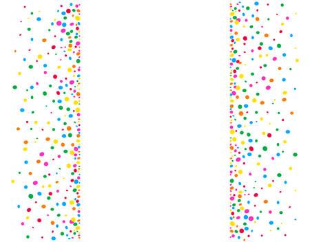 Fondo blanco vertical con puntos de colores y un espacio en el medio para escribir Ilustración de vector