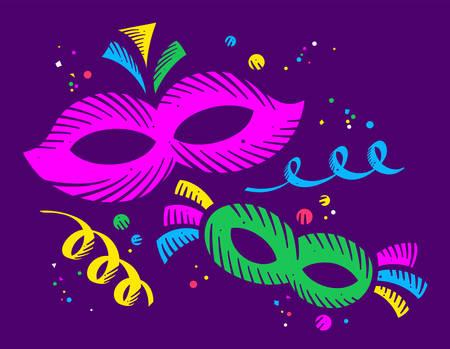 Colorful carnival masks on dark background
