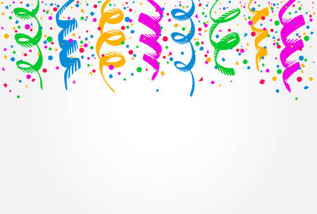 White background with colorful streamers hanging on top Illustration