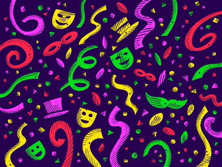 Dark background with colorful carnival designs