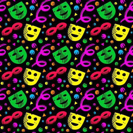 Colorful pattern with carnival masks and confetti on black background