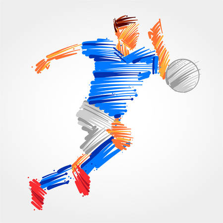 Soccer player running behind the ball made of colorful brush strokes
