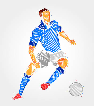 Blue brush strokes drawing of football player man on clear background