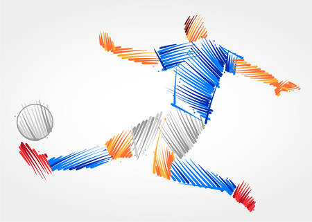 Soccer player stretching the body to dominate the ball made of colorful brushstrokes on light background Çizim