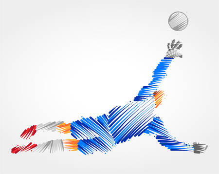 Goalkeeper jumping to catch the ball made in blue and grayscale brush strokes on light background