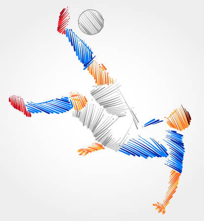Soccer player trying to kick the ball made of colorful brushstrokes on light background Çizim