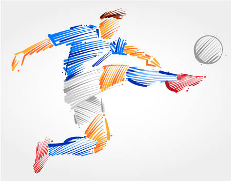 Soccer player flying to kick the ball made in blue and grayscale brush strokes on light background