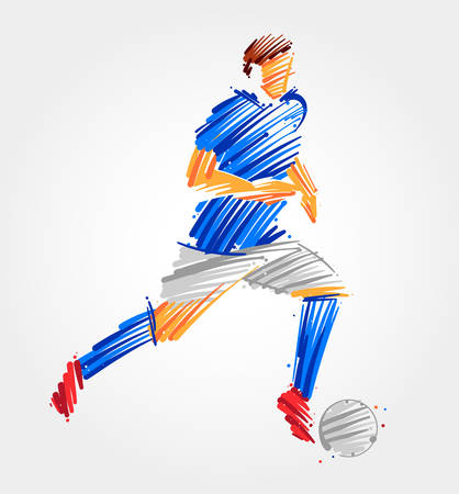 Drawing of Soccer player carrying the ball made of blue and grayscale brush strokes