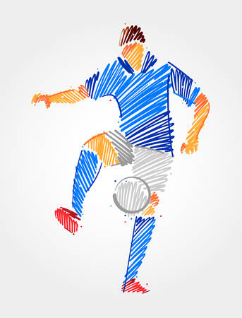 Soccer player training with ball in the same place. Simple drawing in blue and grayscale brush strokes on light background